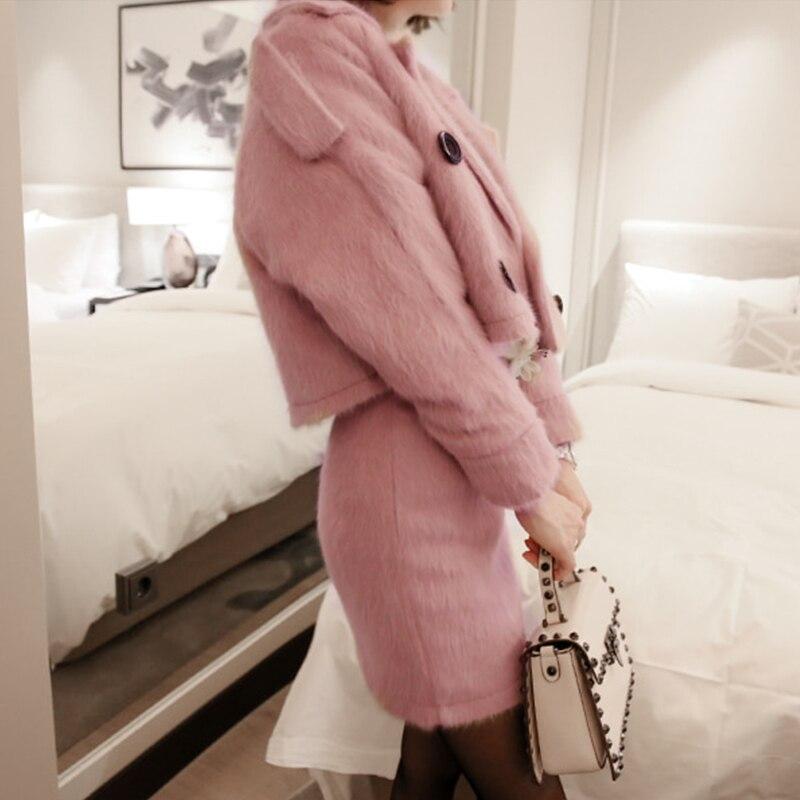 2018 Double Veste Laine Hiver Femmes Manteau Pink Rose Ensemble À Luxe Pièces Court Deux Costumes De Automne Tweed Boutonnage Slim Mode yYf76gb