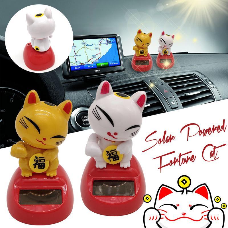 Lovely Solar Power Cat Interior Ornament Home Decor For Kids Toy Birthday Gift