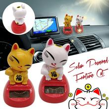 Ornament Interior Solar-Power Kids Cat for Toy Birthday-Gift Benchmark Lucky-Cat Home-Decor