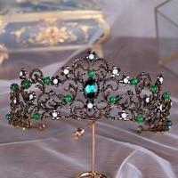 Elegant Green Crystal Tiara Crown Baroque Vintage Metal Bronze Headband Hair Ornament for Wedding Bride Headpiece Jewelry Gifts