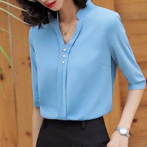 Image 2 - אופנה חולצה נשים חצי שרוול מקרית עבודה אלגנטי V צוואר עסקי ראיון רשמי שיפון החולצה משרד ליידי בתוספת גודל חולצות