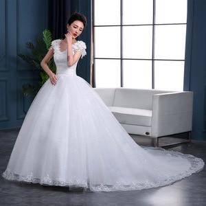 Image 3 - Pas cher 2020 nouvelle mode luxe haut De gamme manches robes De mariée 2020 avec des perles De dentelle De mode robe De mariée Vestidos De Noiva