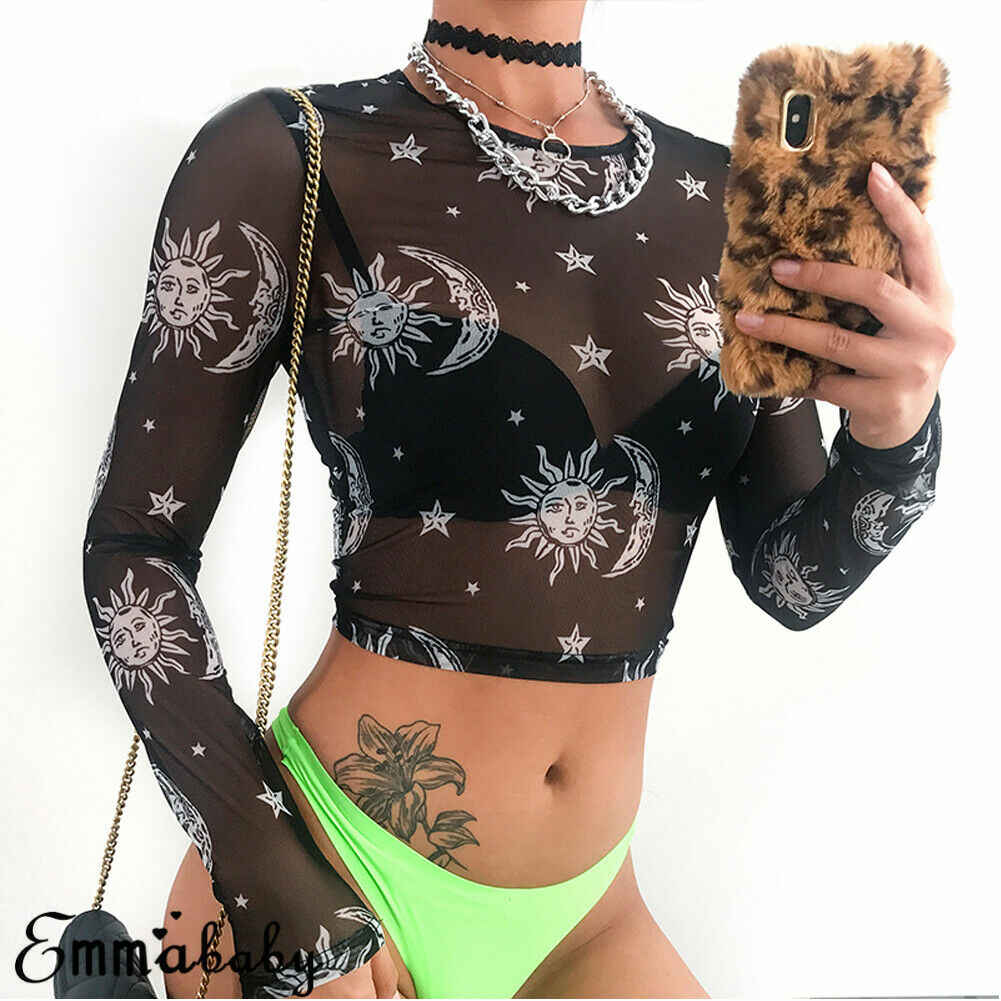 2019 Women Sexy Harajuku Mesh Sheer See Through T Shirt Transparent Clubwear Camisas Femininas Sun Moon Star Print Basic Top