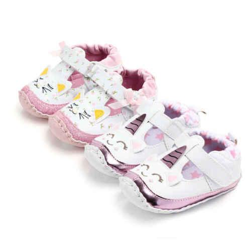 bce2b8df89 UK Infant Baby Girl Toddler Unicorn Moccasins Soft Sole Prewalker ...