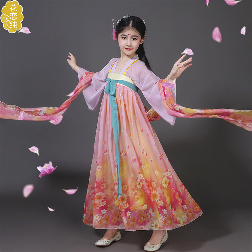 Girls Chinese Traditional Costume Stage Performance Ancient Print Hanfu China Style Dress Woman Dance Costumes Tang Suit