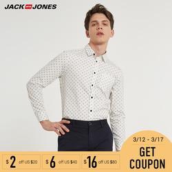 Jack Jones 2018 Новинка Мужская Рубашка с Хлопока 100% Кардиган Мужский Прямой Фасон Блузка Мужская   Мужская Верхняя Одежда 216105034