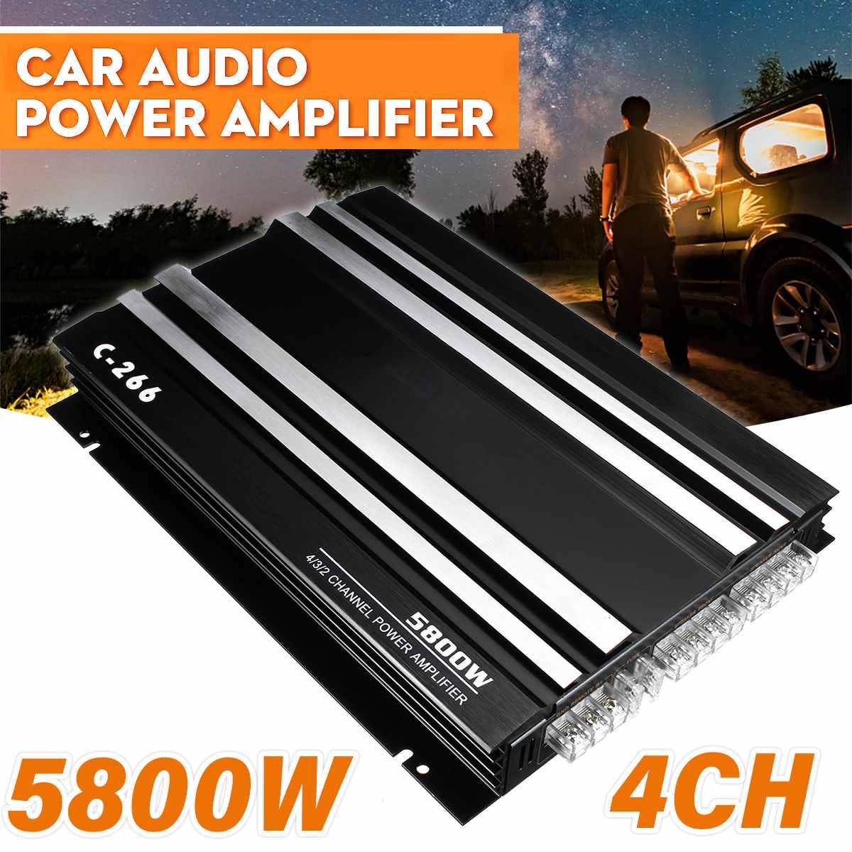 AMPLIFICADOR DE POTENCIA de graves de 4 canales de aleación de aluminio de 12V y 5800W CC, soporte para 4 altavoces, amplificador de Audio para coche y vehículo, amplificador estéreo para reproductor de música