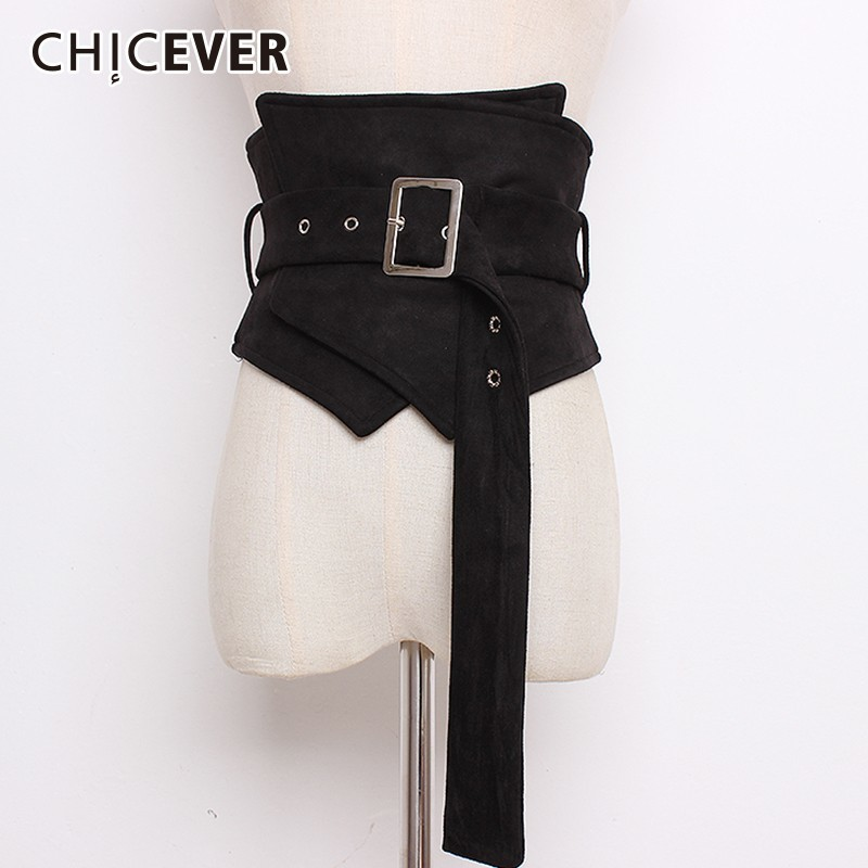 CHICEVER Autumn Velvet Corset For Women Belts Waistband Bandage Adjustable Waist Irregular Belts Female Dress Accessories Korean