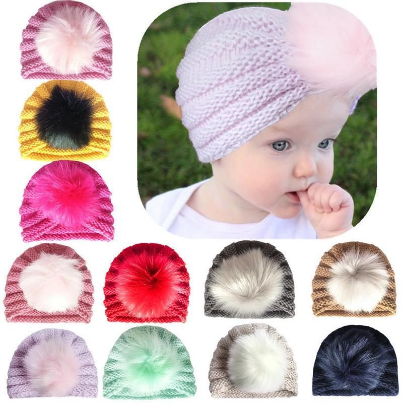 Bebê recém-nascido da criança crianças menino menina chapéu de turbante gorro chapéu de gorro inverno outono quente boné de tricô crianças gorro cabeça envoltório