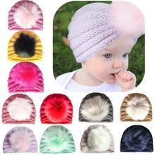 Newborn Toddler Kids Baby Boy Girl Turban Hat Beanie Headwear Winter Autumn Warm Cap Knitting Children Caps Head Wrap