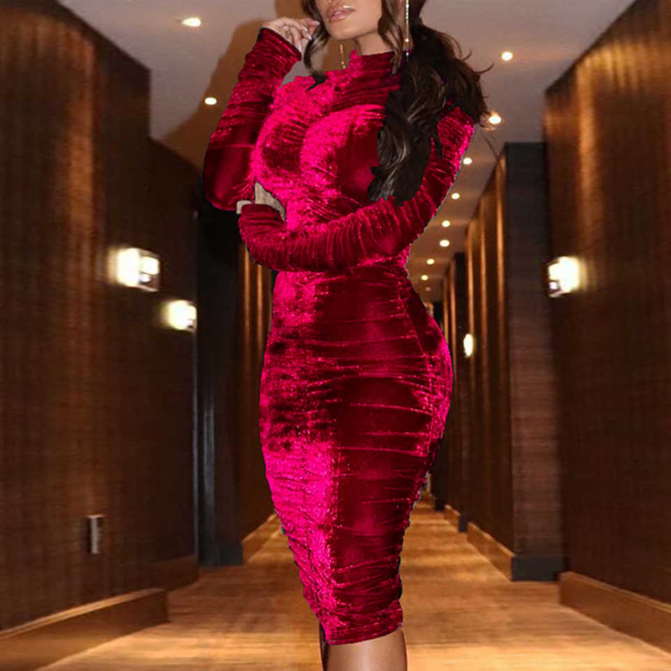 7fd3f1d5783b ... Karlofea Women Office Lady Autumn Winter Outfits Dress Pleated Bodycon  Wrap Midi Dress Elegant Long Sleeve ...