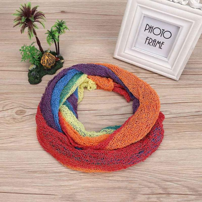 1set Rainbow Mohair Wrap Newborn Stretch Wrap Photography Props Infant Blanket Soft Photo Props Blanket Swaddling For 0-2M Baby