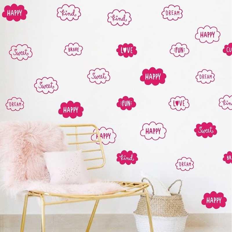 لطيف سحابة الحب الحلو سعيد الكلمات صور مطبوعة للحوائط الحضانة ورق حائط للزينة الفينيل الجدار ملصق غرفة الاطفال ديكور المنزل