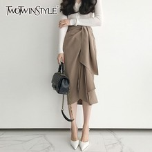 TWOTWINSTYLE Casual Skirt For Women High Waist Bandage Asymmetrical Midi Skirts