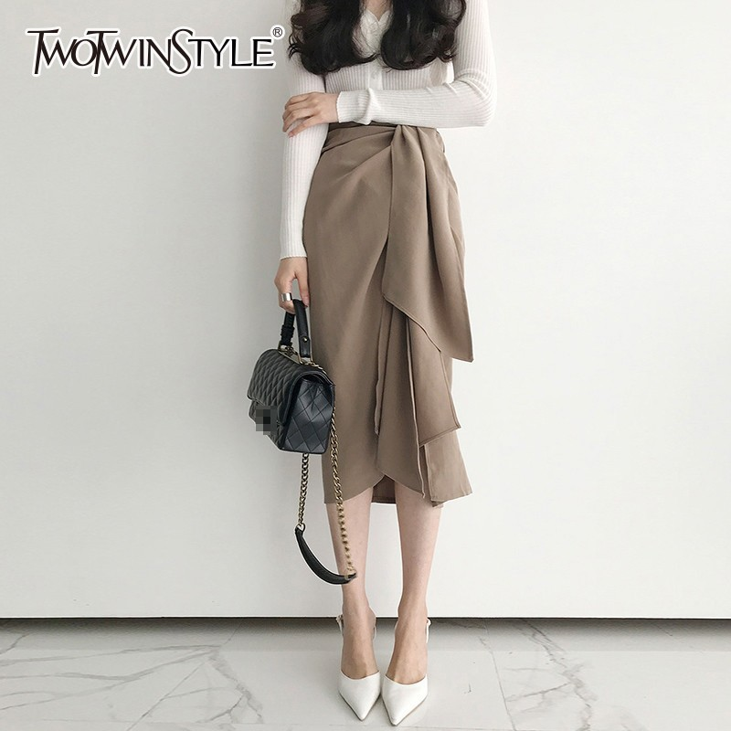 TWOTWINSTYLE Casual Skirt For Women High Waist Bandage Asymmetrical Midi Skirts Female Korean Fashion Elegant 2020 Spring