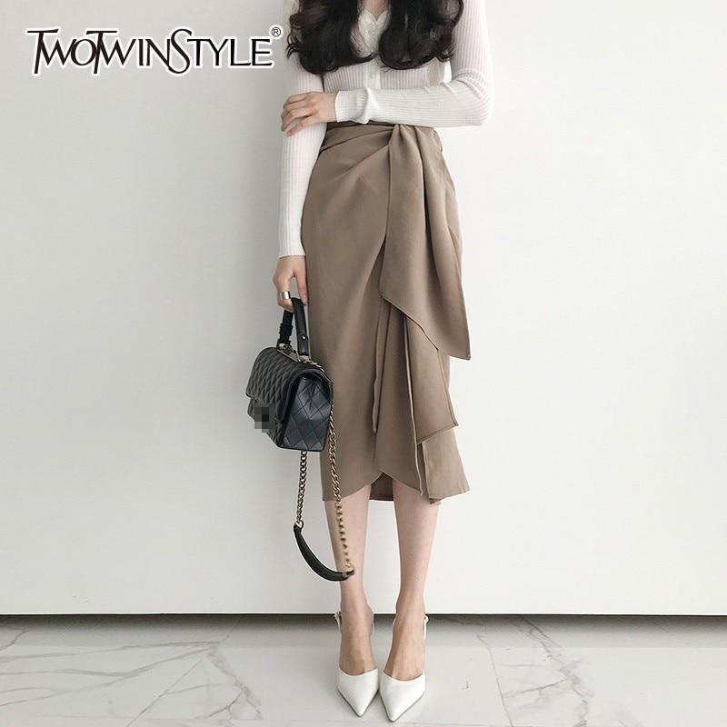 TWOTWINSTYLE Casual Skirt For Women High Waist Bandage Asymmetrical Midi Skirts Female Korean Fashion Elegant 2020 Spring