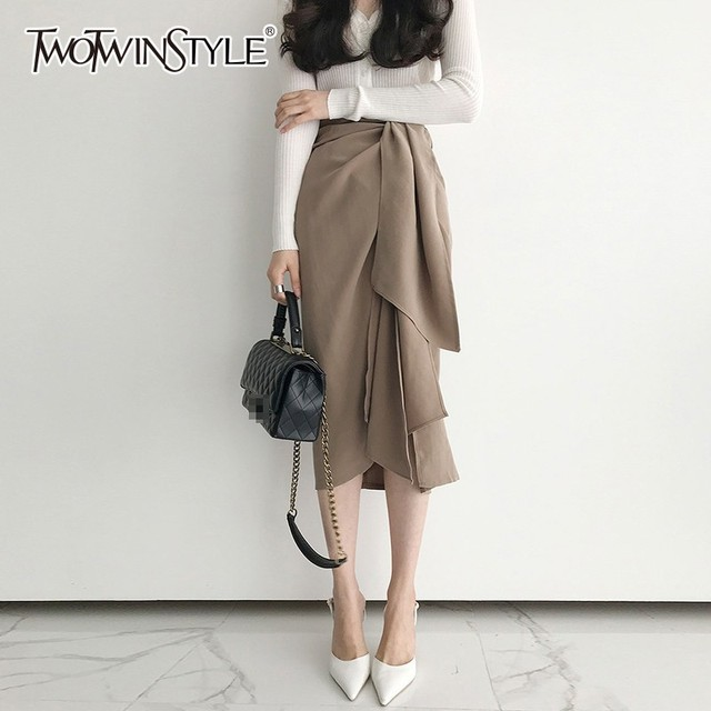 TWOTWINSTYLE מזדמן חצאית לנשים גבוהה מותן תחבושת סימטרי Midi חצאיות נשי קוריאני אופנה אלגנטית 2020 אביב