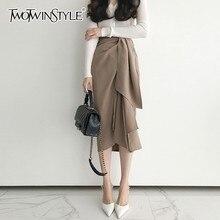 Twotwinstyleカジュアルスカート女性のハイウエスト包帯非対称のミディスカート女性の韓国のファッションエレガントな2020春