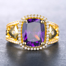 925 silver jewelry stainless steel ring Classic inlaid zircon rings Topaz Turquoise Amethyst Moissanite citrine B1122