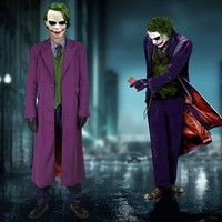 Batman The Dark Knight Joker Costume Batman Joker Suit Outfits Classic Halloween Cosplay Movie Hero Costume Full Set Custom Made