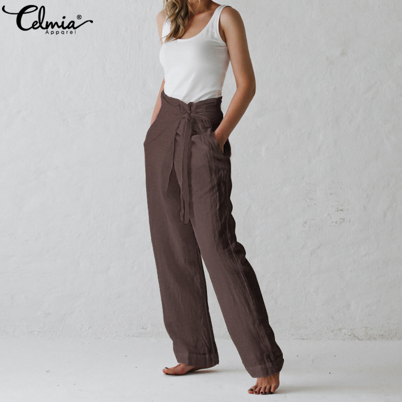 Celmia Retro Women Trouser 2019 Summer Wide Leg Pants Casual Loose Solid Harem Pant Belt Pockets Long Pantalon Plus Size Palazzo