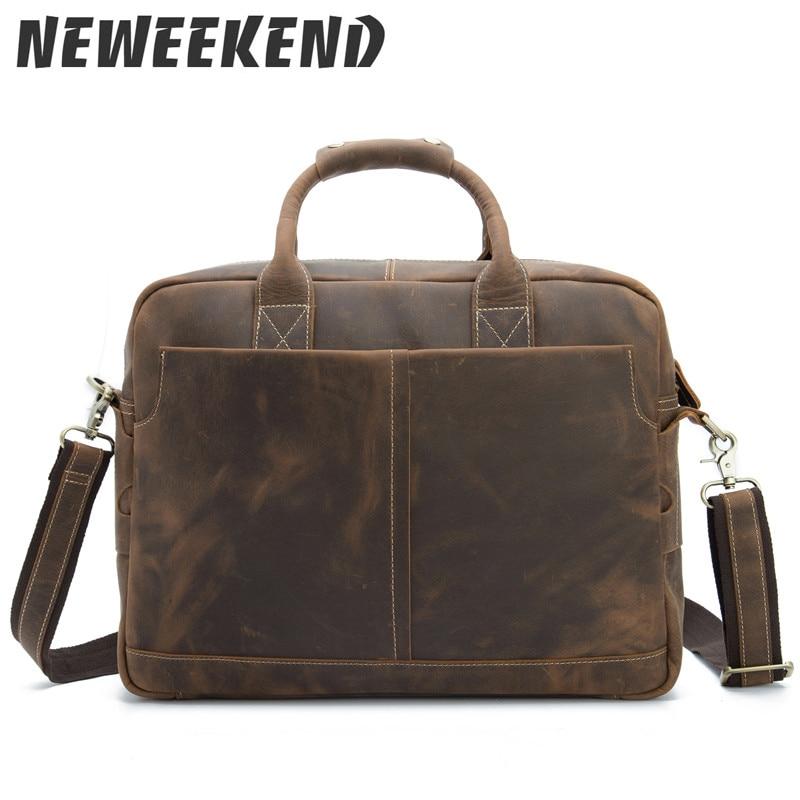 Genuine Leather Men s Casual Briefcase Business Messenger Handbag Crossbody Shoulder Bag For Man 15 Inch