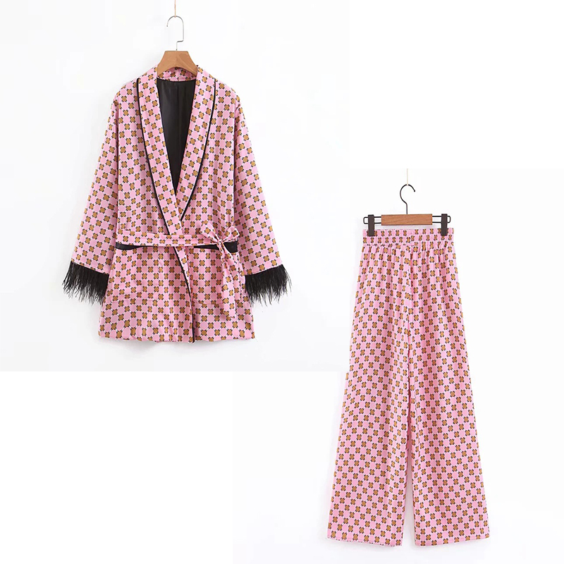 Women's Suit Set Two-piece 2019 Summer New Women's Loose Print Tassel Decorative Kimono Jacket Casual Loose Wide Leg Pants