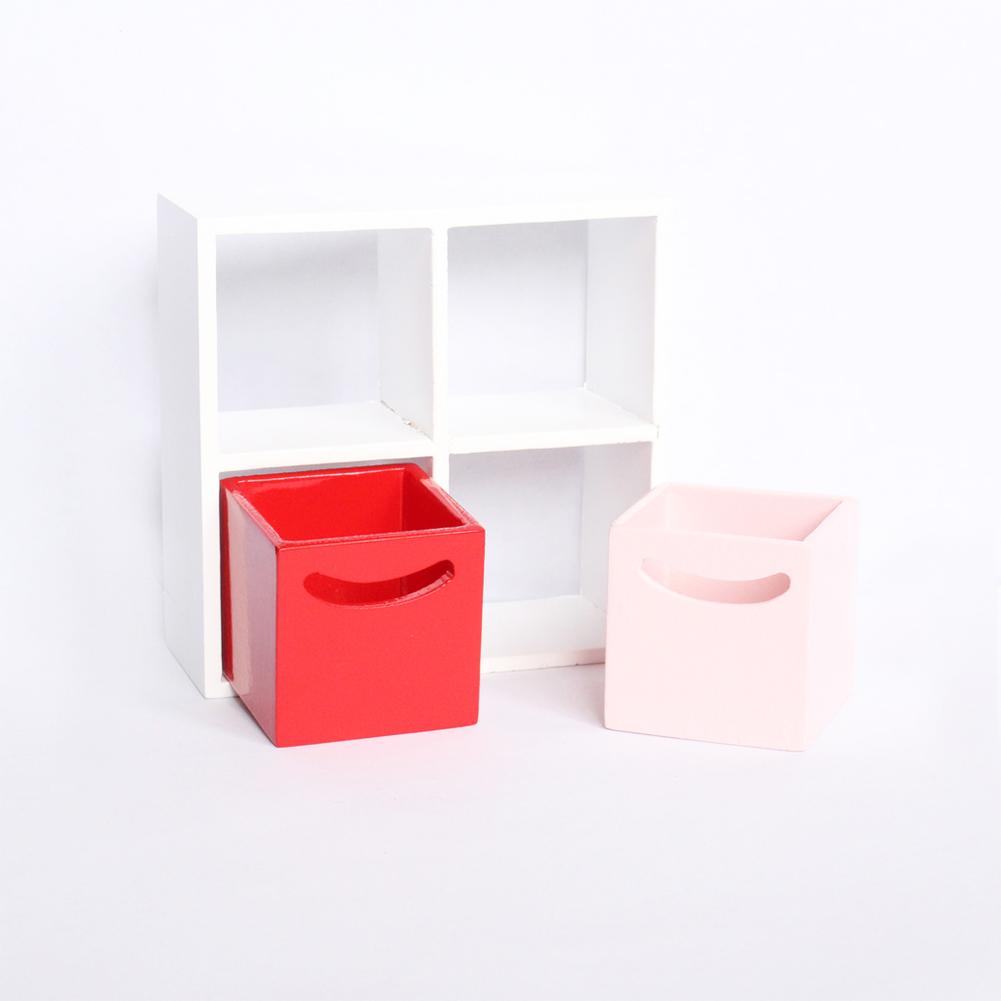 1:12 Simple Mini Wooden 4 Grid Cabinet With 2 Drawer Miniature Modern Indoor Furniture For Dollhouse Furniture 1 Set