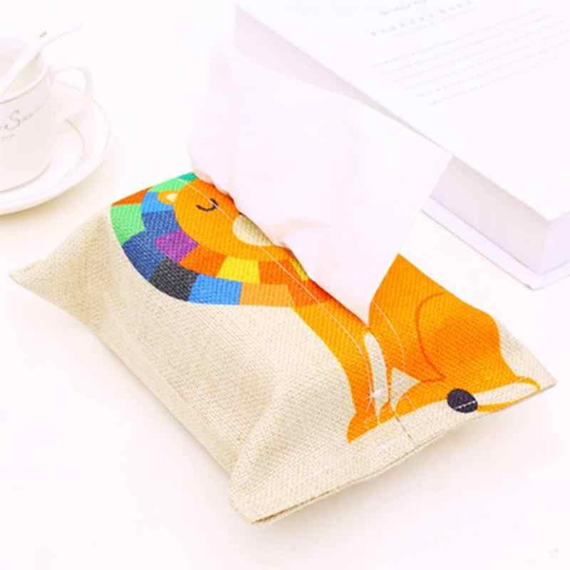 1 PC Kain Pola Kartun Kapas Kain Kertas Tissue Cover Tas Box Wadah Pemegang untuk Kamar Tidur Dekorasi Rumah Mobil