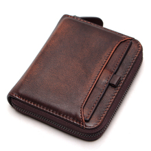 Men's Short Wallet First Layer Leather Wallet Men's Retro Wallet Vertical Zipper Casual Youth Small Purse