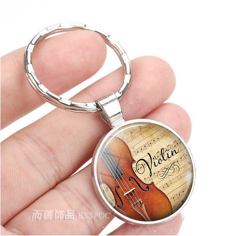 Violino e música prata cor chaveiro músico arte cúpula de vidro pingente chaveiro jóias acessórios anel chave feminino presente