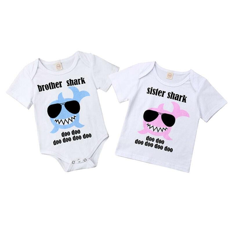 T-Shirt Sister Shark-Printed Baby-Boys-Girls Short-Sleeve Cotton Summer Romper Matching-Outfits