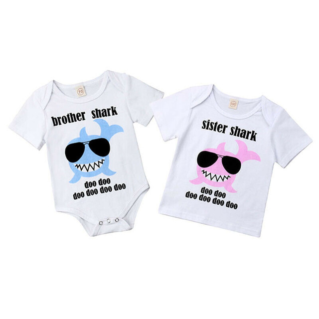 Sister Brother Matching Outfits Baby Boys Girls Brother Romper Sister T-shirt Cotton Short Sleeve Shark Printed Summer Clothes