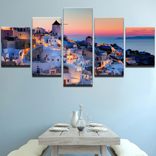Modular Picture Wall Art Home Decor 5 Pieces Santorini Landscape Abstract Painting Canvas Print For Modern Living Room Artwork lacywear s 134 fio
