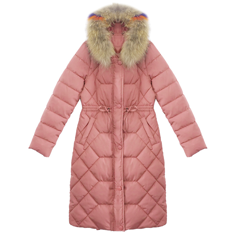 Plus blue Manteau Colour Nouveau Outwears Col pink Black Hiver Chaud Fourrure Longue Mince Taille Parkas 2018 À Km047 De Tops Style Manches La Coton Épaississent Longues tTTqxwgr