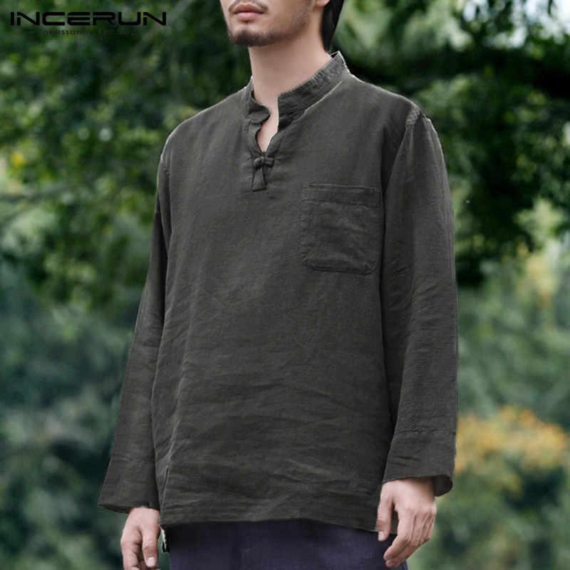 INCERUN 長袖メンズシャツポケット V ネック無地ヴィンテージ綿唐装カジュアルシャツ男性カミーサ Masculina 2019
