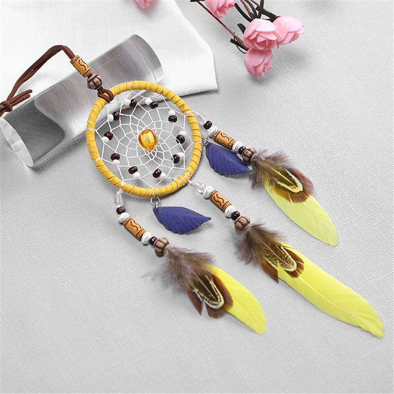 Image 2 - Handmade Yellow Dream Catcher Wind Chimes Indiana Style Feather Pendant Dreamcatcher Creative Car Hanging Decoration Accessories-in Ornaments from Automobiles & Motorcycles