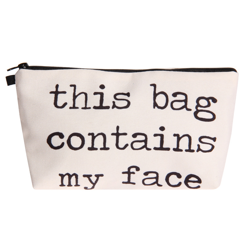 This Bag Contains My Face 3D Printed Cosmetic Bags Multifunction For Travel