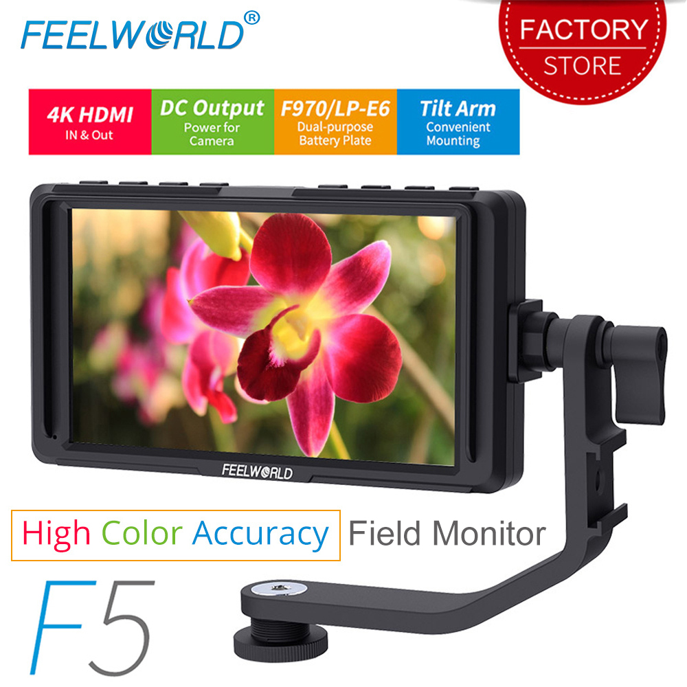 Feelworld F5 5 дюймов для однообъективной цифровой зеркальной фотокамеры камера мониторы Малый HD фокус видео помощь поле ЖК дисплей ips Full HD 1920x1080 4 ...