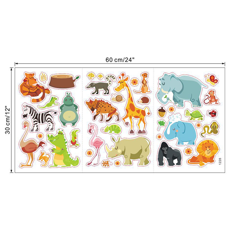 Stylish Jungle Animals Wall Stickers DIY Wall Stickers for Kids Rooms Safari Baby Home Decor Poster Monkey Elephant Wall Decals in Wall Stickers from Home Garden