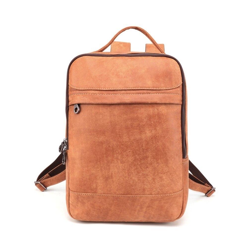 Waterproof Backpack Laptop-Bags Travel-Bag Leather Bookbag Large-Capacity Vintage Casual