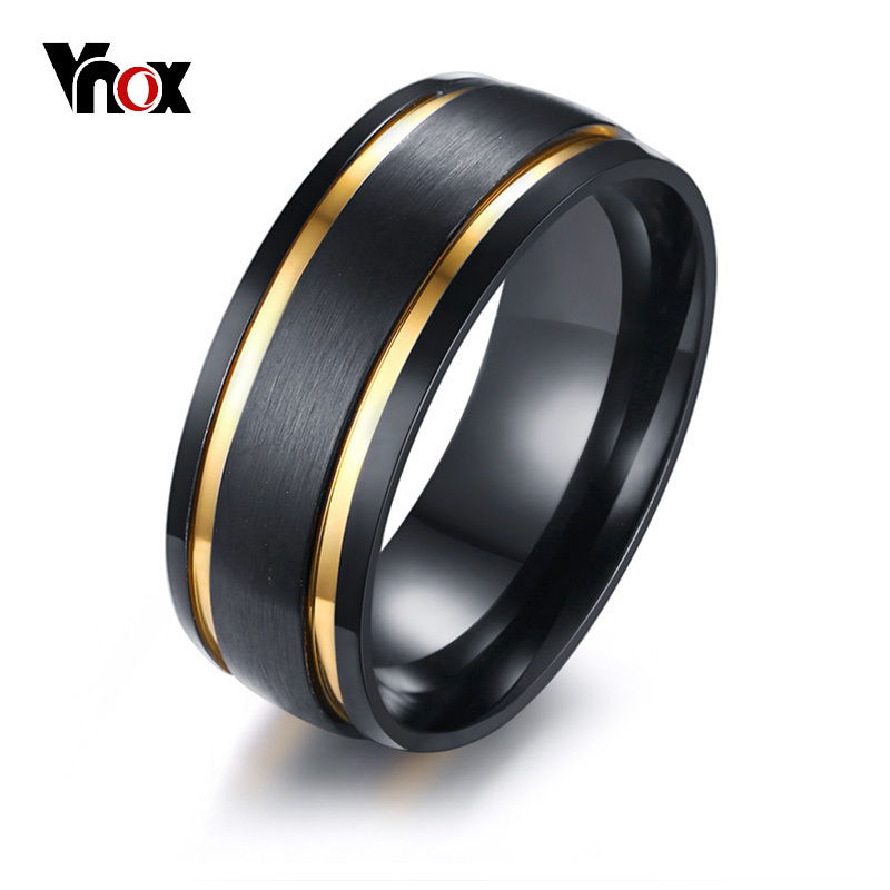 Vnox Brushed Finger-Rings Wedding-Bands Ring-Stylish Gold-Tone Black Male Men's 8MM Gift