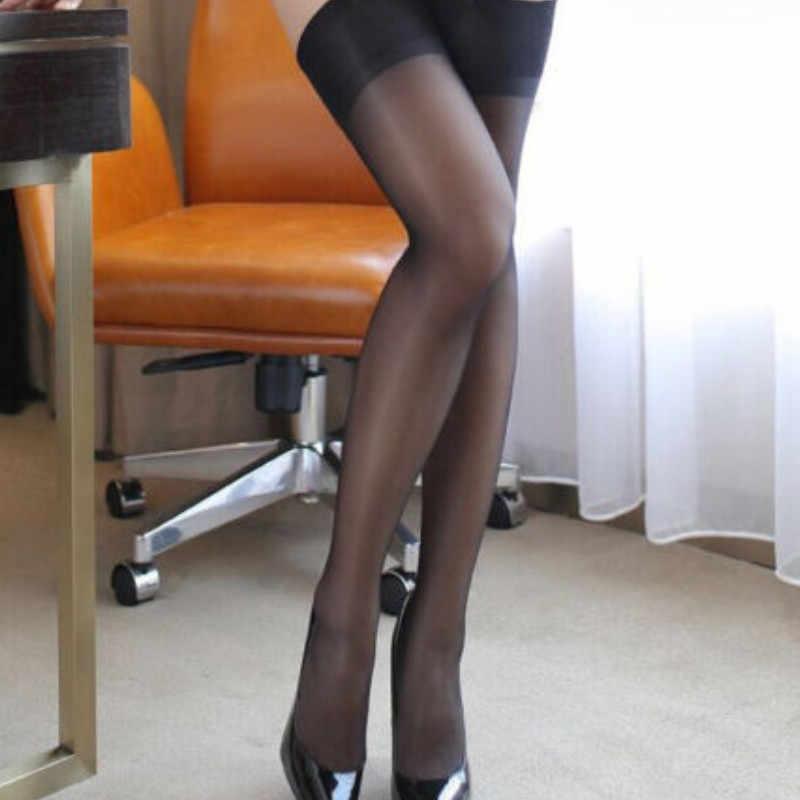 Phụ nữ của Sexy Ren Top Silicone Nhạc Stay Up Đùi Cao Stockings Pantyhose Phụ Nữ trong suốt khiêu dâm Đen Trắng Xám