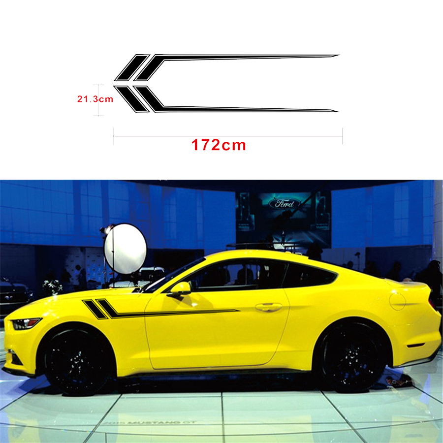 1 Pair Car Vinyl Sticker Black Side Body Stripe Decal decoration and styling 172x21.3CM