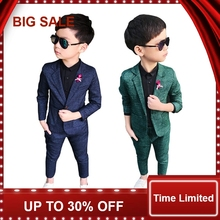 Autumn/Winter Korean Style Young Boys Formal Suits England-Style Flower Turn Down Collar