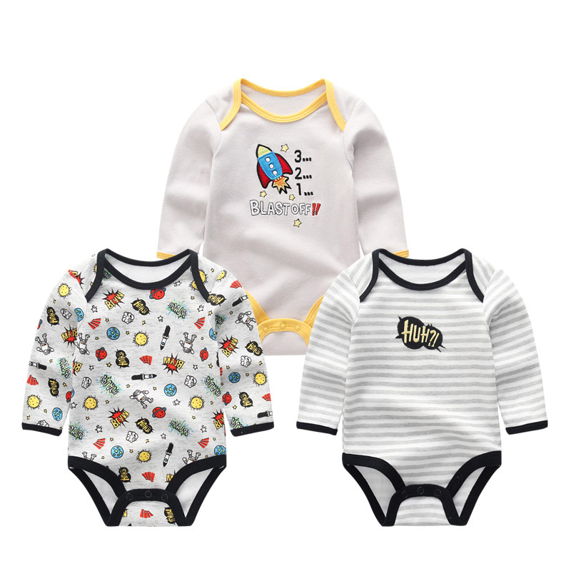 2019 3PCS/Lot Girls Baby Sets Unisex Newborn Unicorn Baby Boy Clothes Cotton Baby Girl Clothes Jumpsuit Newborn 1