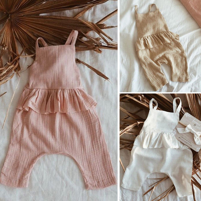 63359abe70c5 2019 Emmababy Baby Girls Pants Backless Romper Cotton And Linen Jumpsuit  Playsuit Clothes Bib Pants Ruffle Solid Outfit 0-3Y