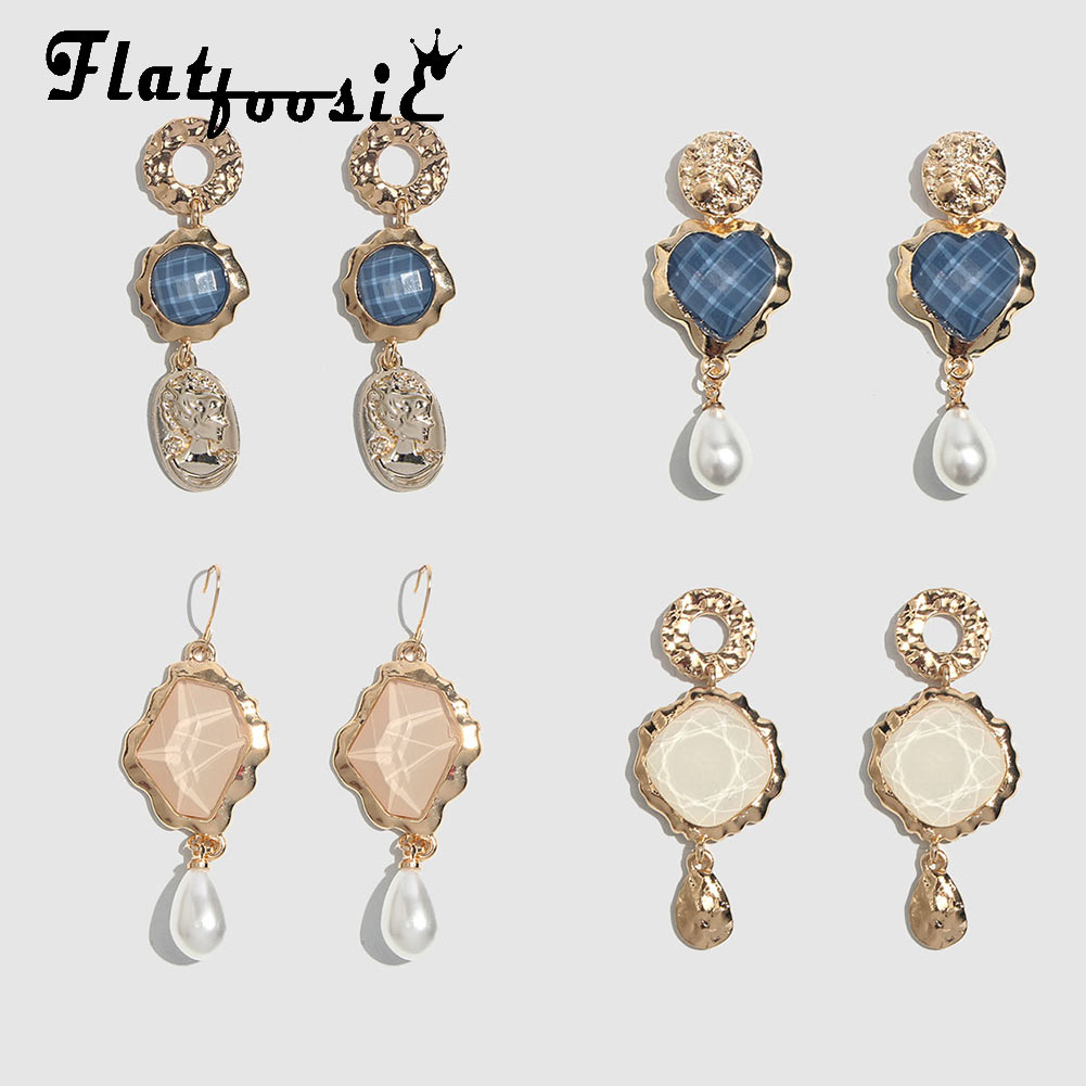 Flatfoosie New Resin Glass Crystal Pendant <font><b>Drop</b></font> <font><b>Earrings</b></font> For Women <font><b>Gold</b></font> Color Metal Alloy Dangle <font><b>Earring</b></font> <font><b>Elegant</b></font> <font><b>Jewelry</b></font> image