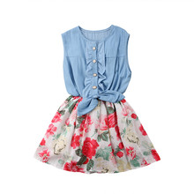 Baby Clothing One Piece Baby Girls Kid Flower Dress Princess Bow Summer Cute Sleeveless Dress 0-7Y Kids Baby Outfits Clothes цена