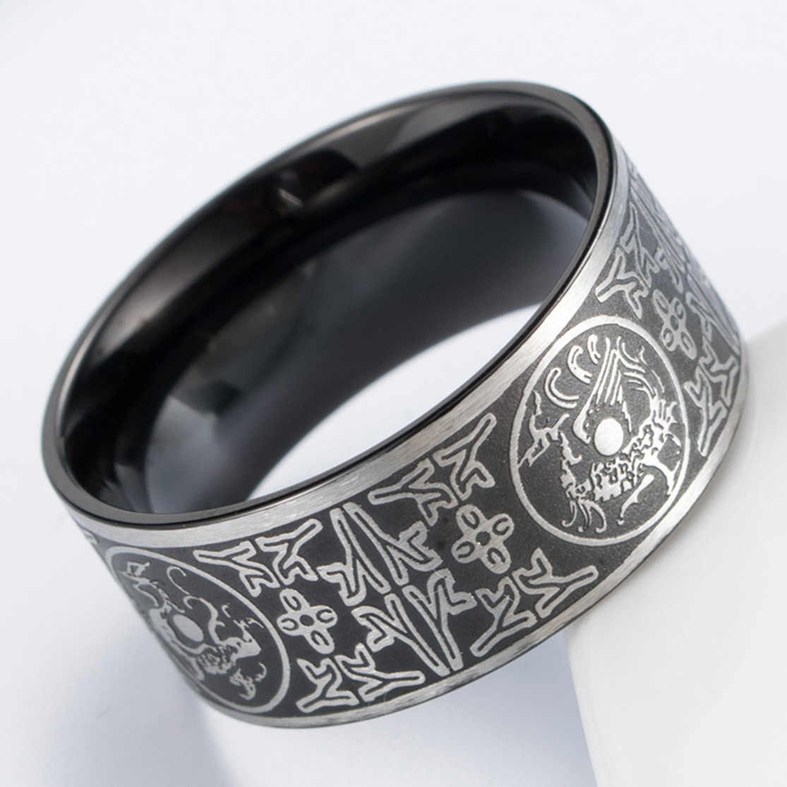8a6b56a94fafe Men Stainless Steel Ancient Guardian Beasts Ring Dragon White Tiger Carved  Wedding Rings Anillos Bague Homme Anel Masculino